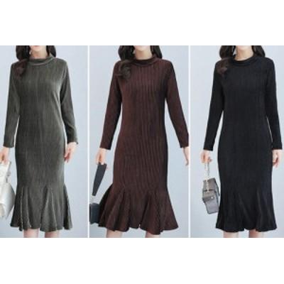 春新作 レディース ベルベット ドレス フリルスカート ミディアムスカート ハイネック 大きいサイズも お仕事にも