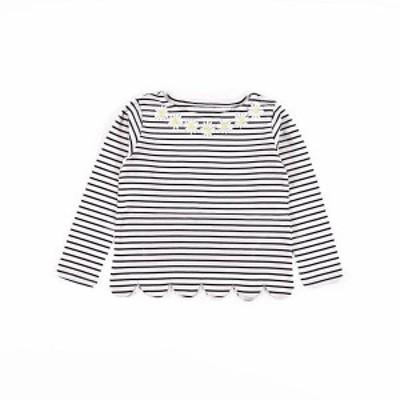 スラップスリップ(SLAP SLIP)/ボーダー天竺フラワーレースTシャツ