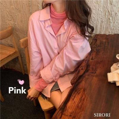 ブラウス シャツ レディース 長袖 ルーズ ピンク 中長項 サンシャツ ピンク 折り襟 おしゃれ 春 ゆったり