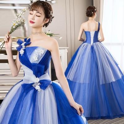 パーティードレス ロング 結婚式 花嫁 コンサート プリンセスライン テージ衣装 披露宴 おしゃれ シンデレラ 演奏会