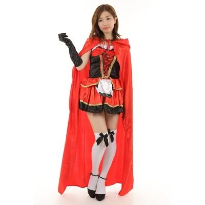 赤ずきん 赤頭巾 ハロウィン コスプレ 白のニーハイ ソックス付き (赤ずきん)