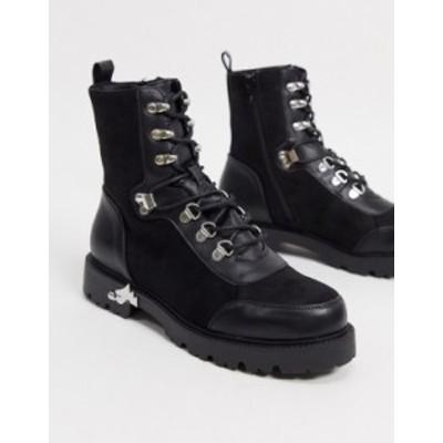 エイソス レディース ブーツ・レインブーツ シューズ ASOS DESIGN Alma lace up hiker boots with trim detail in black BLACK