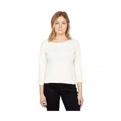 Three Dots スリードッツ レディース 女性用 ファッション Tシャツ 100% Cotton Heritage Knit 3/4 Sleeve British Tee - Pristine