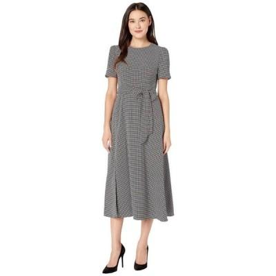 ヴィンスカムート レディース ワンピース トップス Elbow Sleeve Mini Houndstooth Belted Dress