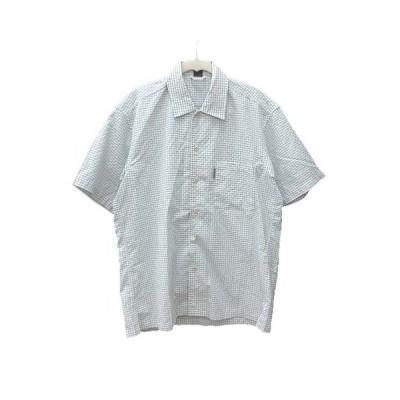 【中古】モンベル Montbell シャツ 半袖 チェック S 緑 グリーン 白 ホワイト /CT メンズ 【ベクトル 古着】