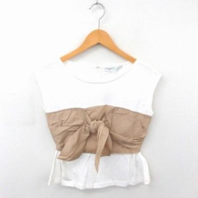 【中古】マーキュリーデュオ カットソー Tシャツ ボートネック リボン ノースリーブ ONE 薄茶 白 ベージュ ホワイト