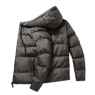 メンズ ダウン式コート 長袖ダウンジャケット 中綿入り ボリュームネック ブルゾン フード付き 大きいサイズ 20代 30代 保温 防寒 かっこいい