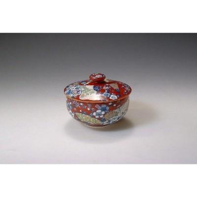 新品 京焼 清水焼 【朱濃誰が袖】 しゅだみたがそで 蓋付お茶呑茶碗 5個セット 和食器 陶器 陶磁器