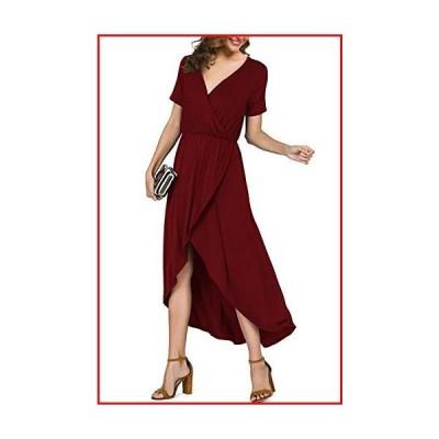 【新品】PrinStory Women's Casual Short Sleeve V Neck Slit High Low Wrap Maxi Dress Summer Beach Party Wedding Dress Wine Red US-XL【並