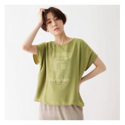 【シューラルー/SHOO・LA・RUE】 ひんやりシフォンレイヤード転写プリントTシャツ