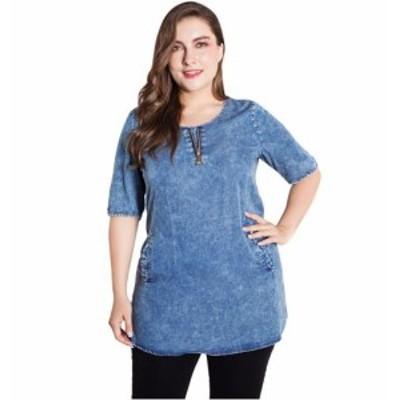 カジュアルデニムTシャツ 半袖 ブラウス ジップアップ 大きいサイズ ベーシック 春夏 レディース 20代 30代 オフィス 女子会 おでかけ