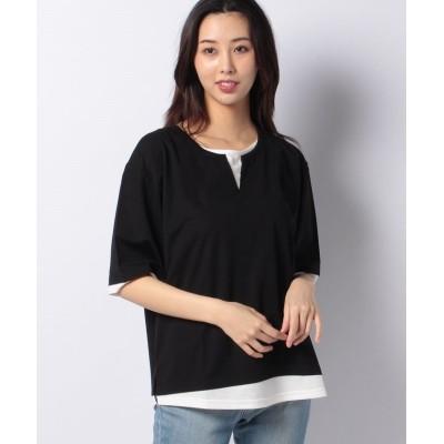 【ラナン】 接触冷感レイヤード風Tシャツ レディース ブラック M Ranan