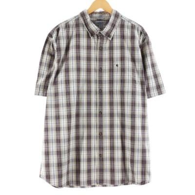 カーハート Carhartt RELAXED FIT 半袖 ボタンダウンチェックシャツ メンズXL /eaa167084