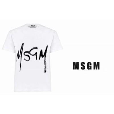 F453 MSGM エムエスジーエム Tシャツ レディース スプレー ホワイト×ブラック ロゴ イタリア製 新品 2841MDM74 01 ホワイト ★ S