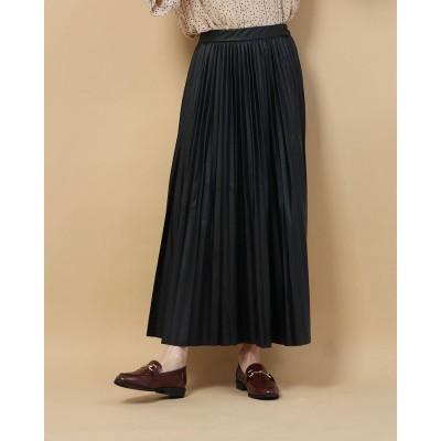 ジーラ GeeRA 【WEB限定】エコレザープリーツスカート (ブラック)【Mサイズ】