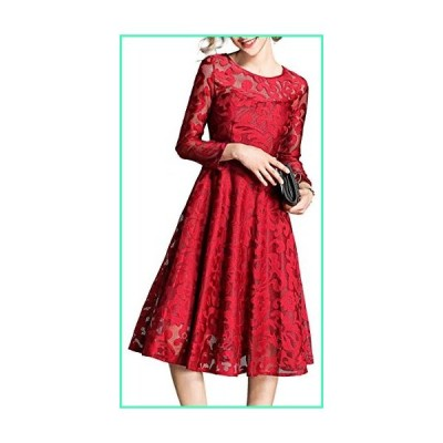 XINUO Women Dresses Fall Vintage Formal Floral Lace A Line Midi Tea Swing Dress Bridesmaid Evening Cocktail Party Dress Red並行輸入品