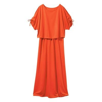 大きいサイズ 肩スリットシャーリングワンピース ,スマイルランド, ワンピース, plus size dress