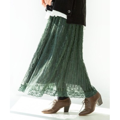 osharewalker / 『繊細レースプリーツスカート』 WOMEN スカート > スカート