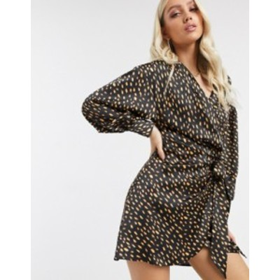 エイソス レディース ワンピース トップス ASOS DESIGN satin drape wrap front mini dress in polka dot Multi spot