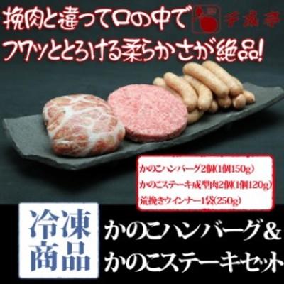 送料込み 近江牛 かのこハンバーグ かのこステーキ 成型肉 セット 冷凍 のしOK お肉ギフト お中元 ギフト