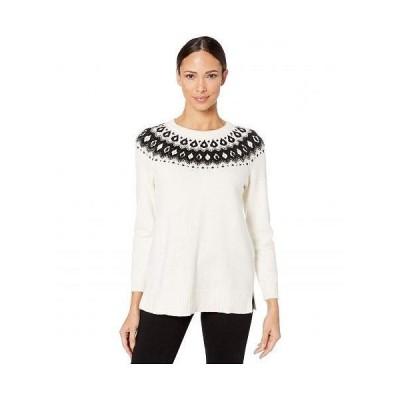 Vince Camuto ヴィンスカムート レディース 女性用 ファッション セーター Long Sleeve Embellished Yoke Jacquard Sweater - Antique White