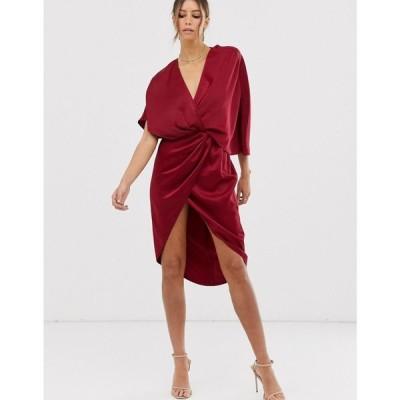 エイソス ASOS DESIGN レディース ワンピース ワンピース・ドレス midi dress in satin with asymmetric kimono sleeve Wine