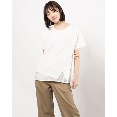 リネーム Rename レイヤードデザインTシャツ(オフ)