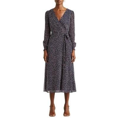 ラルフローレン レディース ワンピース トップス Floral Print Georgette Faux Wrap Long Sleeve Midi Dress
