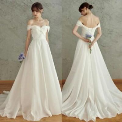 ウエディングドレス ウェディングドレス トレーンタイプ オフショルダー 編み上げタイプ 【オーダーメイド可能】【S・M・L】【ur24】