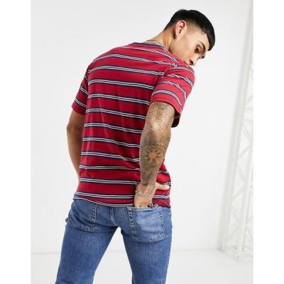 メンナス メンズ Tシャツ トップス Mennace striped logo t-shirt in red Red