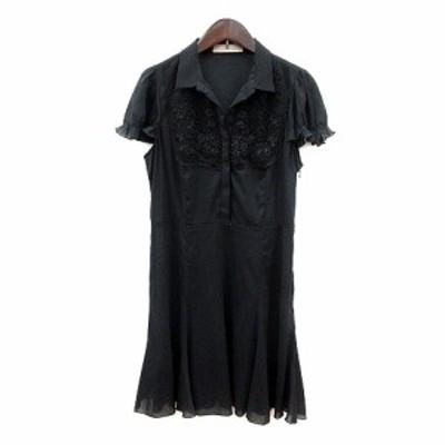 【中古】スナイデル snidel ワンピース ミニ 刺繍 半袖 ビーズ 1 黒 ブラック /MN レディース