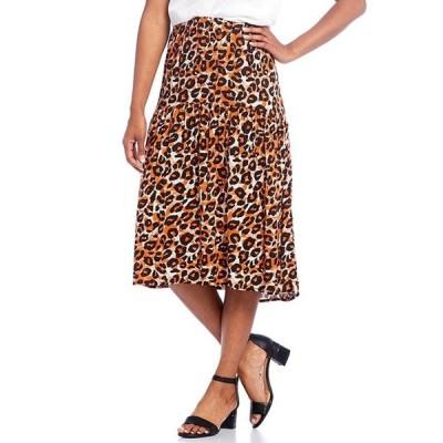 イントロ レディース スカート ボトムス Cheetah Print Challis Pull-On Hi-Low Midi Skirt