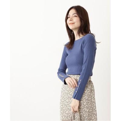 【エヌナチュラルビューティベーシック】 ポイントボタンランダムリブニット レディース ブルー M N.Natural Beauty Basic