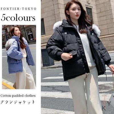 中綿入れ中綿コートコートレディース軽量中綿ジャケット防風フード付き秋冬防寒ファッションジャケットアウター韓国風