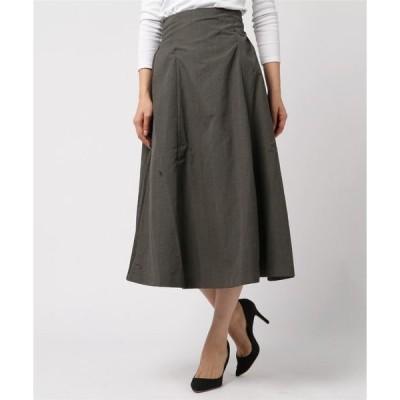 スカート T/R先染めグレンチェック ハイウエストフレアスカート