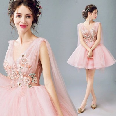 ブライズメイドドレス ピンク 編み上げ パーティードレス ショートドレス フォーマルドレス Vネック 花嫁二次会 お呼ばれ 演奏会 発表会