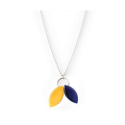 Leaves Tagua Nut Pendant Necklace in Blue and Yellow Handmade