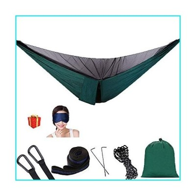 AEETT Camping Hammock with Mosquito Net - Portable Hammock and Double Hammock Bug Net for Outdoor Hiking Campin Backpacking Travel (Dark Green with Mo