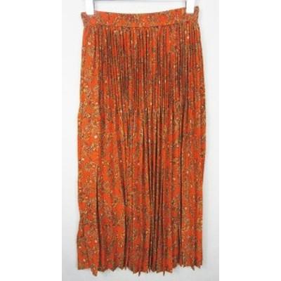 【中古】ベイフロー BAYFLOW フレアロングスカート 総柄 オレンジ 2 so0874 レディース