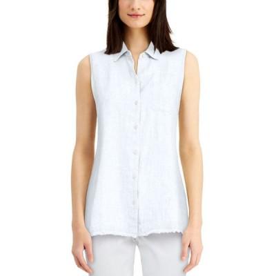 チャータークラブ レディース シャツ トップス Petite Button-Up Fringed-Hem Shirt