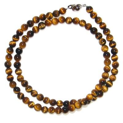 AAグレード シャトヤンシーが美しい虎目石 6mm ネックレス 50cm 10月 誕生石 天然石 メンズ レディース アクセサリー パワーストーン