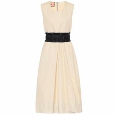 プラン C Plan C レディース ワンピース ミドル丈 ワンピース・ドレス Cotton-blend midi dress White Zinc