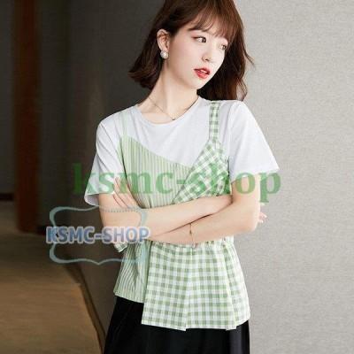tシャツ レディース 半袖 大きいサイズ 春 夏 40代 20代 トップス カットソー Tシャツ Uネック きれいめ シンプル おしゃれ 体型カバー ゆったり 着痩せ 新品