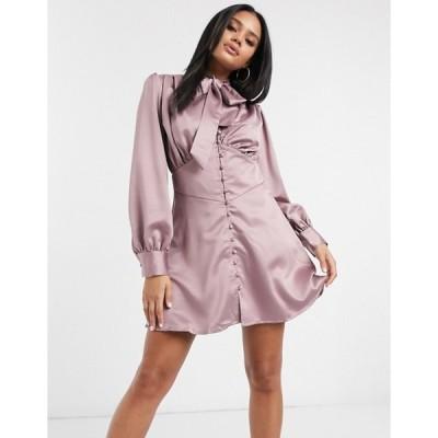 ミスガイデッド レディース ワンピース トップス Missguided button detail satin dress in pink