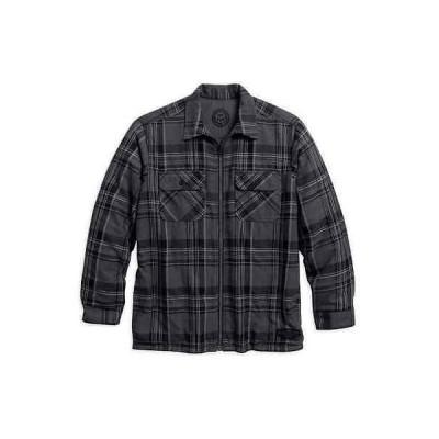 ハーレーダビッドソンカジュアルシャツ ウエア トップスHarley-Davidson メンズ リバーシブル Flannel Plaid Shirt ジャケット グレー 96054-16VM