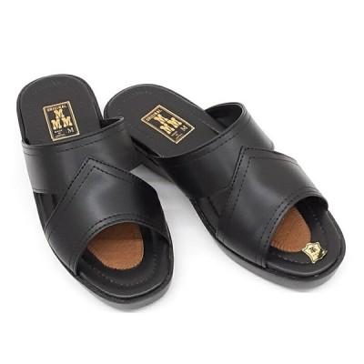 エムスリー M.M.M 1010 天然皮革 紳士 サンダルメンズ レザー 国産 室内履きにもブラック 黒【メンズ】【サンダル】【男性】【オフイス】【日本製】【JAPAN】