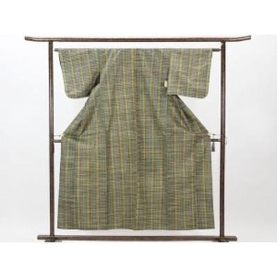 【中古】リサイクル紬 / 正絹グリーン地単衣紬着物 (古着 中古 紬 リサイクル品)