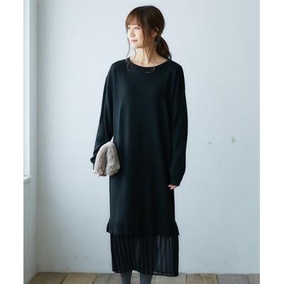 裾プリーツドッキングニットワンピース (ワンピース)Dress