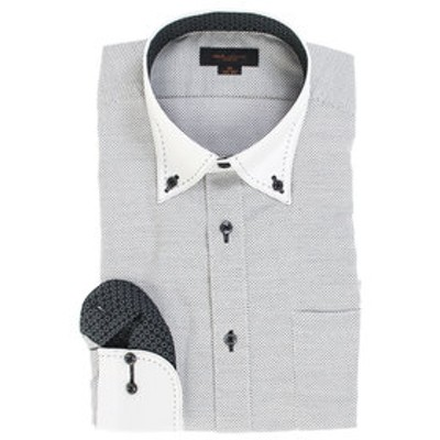形態安定スリムフィット ボタンダウンダブルステッチ長袖ビジネスドレスシャツ