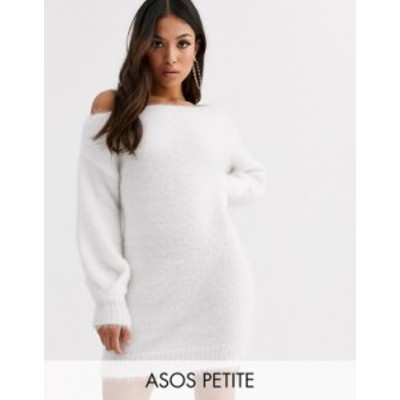 エイソス レディース ワンピース トップス ASOS DESIGN Petite fluffy off shoulder mini dress Cream